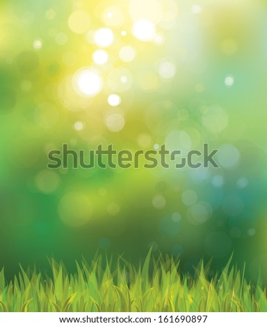 Vector sunny spring background with grass.