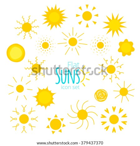 Vector suns icons of different forms in the flat style isolated on white background. Collection of suns illustrations for web, design. Doodle and geometric sunny weather sign, pictogram.  - stock vector