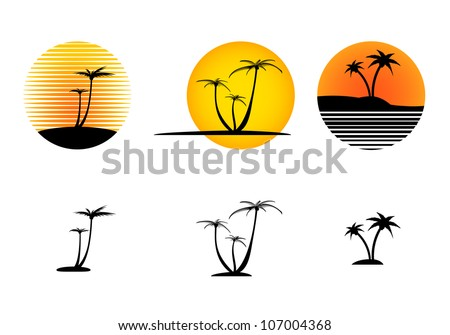 Vector sunset icon collection with the isolated palm trees - stock vector