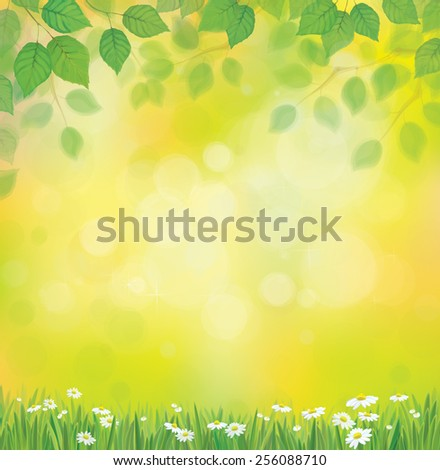 Vector sunshine background with chamomile and dandelion. - stock vector