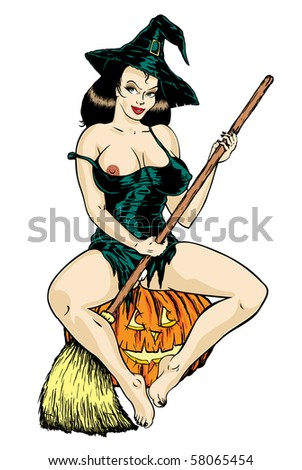 Vector. Super sexy witch. - stock vector