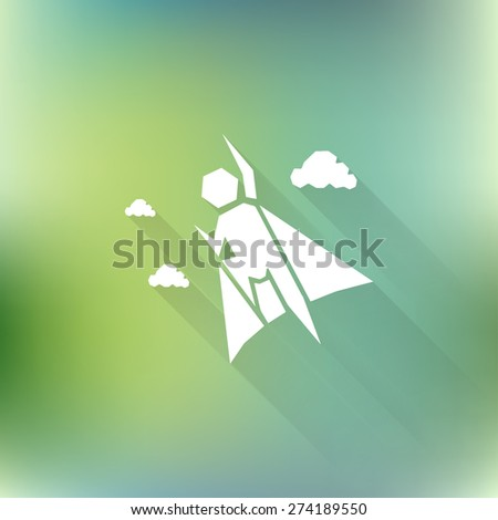 Vector superhero icon with long shadow on blurred background. Logo design - stock vector