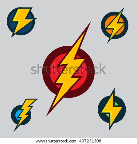 Vector Superhero Symbols Set of Flash