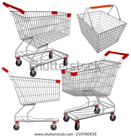 Vector supermarket carts and baskets. Easy to edit and put something in. - stock vector