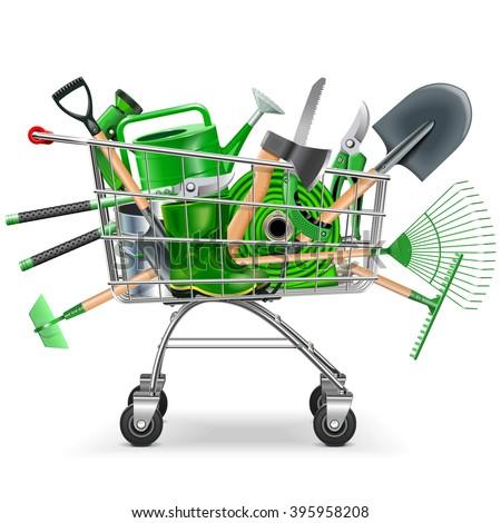 Vector Supermarket Trolley with Garden Accessories - stock vector