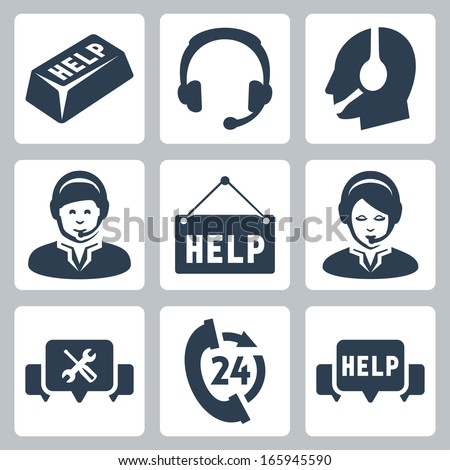 Vector support, call center icons set - stock vector