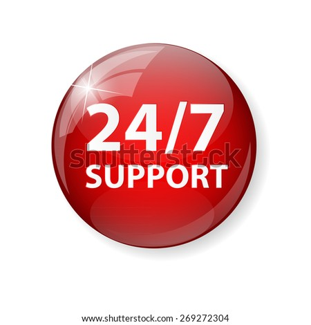 Vector 24/7 SUPPORT Sign, Label Template EPS10 - stock vector