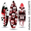 Vector surf boards ( Skull design ) - stock vector
