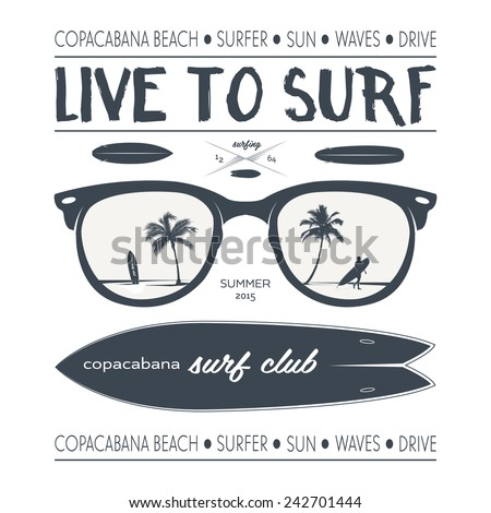 Vector surf poster and design elements - stock vector
