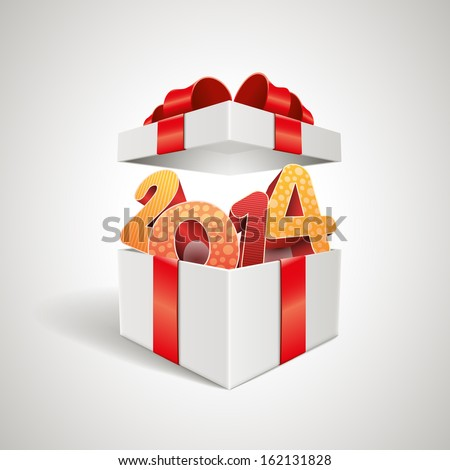 Vector surprise 2014 open gift box design template. Elements are layered separately in vector file. - stock vector