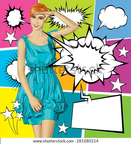Vector surprised red in blue dress, and vector set of comics style speech and thought bubbles - stock vector