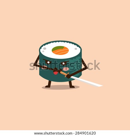 Vector sushi cartoon character illustration - stock vector