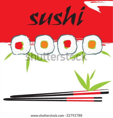 vector sushi composition - stock vector