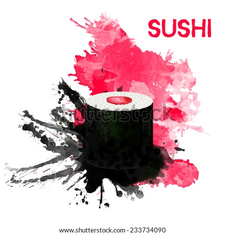 Vector sushi with salmon are drawn on the black and pink watercolor splash background.