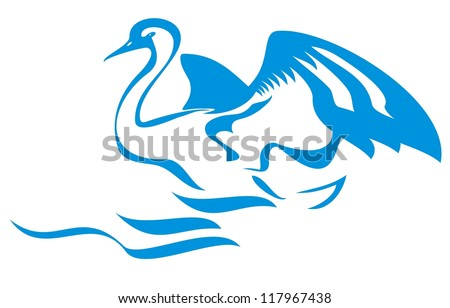 Vector swan with open wings jumps out of water