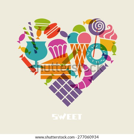 Vector sweet dessert icons. Food heart sign. Set of confectionery from sweet-shop, pastry-shop. Original design element. Cute illustration for print, web - stock vector