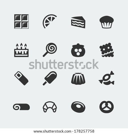 Vector sweets mini icons set - stock vector