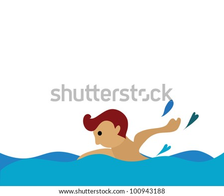 Vector - Swimming.He was swimming,freestyle. - stock vector
