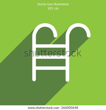 Vector swimming pool ladder flat icon illustration. - stock vector