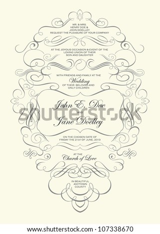 Vector Swirl Ornament Frame. Easy to edit. Perfect for invitations or announcements. - stock vector