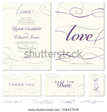 Vector Swirl Ornament Frame Set. Easy to edit. Perfect for invitations or announcements. - stock vector