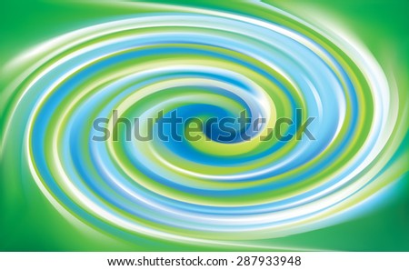 Vector swirling backdrop. Beautiful spiral liquid surface light green and turquoise colors - stock vector