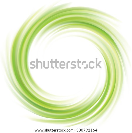 Vector swirling backdrop. Beautiful spiral liquid surface light green color with glowing white center in middle of funnel  - stock vector