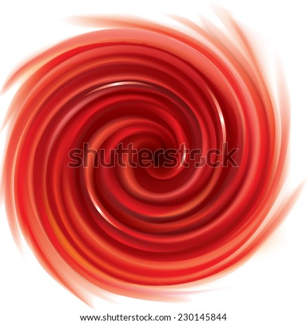 Vector swirling backdrop. Spiral fluid surface deep red color with space for text. Appetizing juice different bright fruits: strawberries, tomatoes, cranberries, raspberries, pomegranate, redcurrants - stock vector