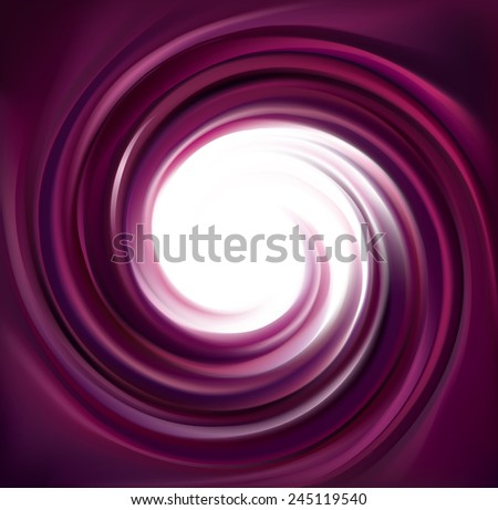 Vector swirling backdrop. Spiral liquid lilac surface with glowing white center in middle of funnel. Petite juice different fruits blue: grape, currant, blueberry, blackberry, mulberry, cherry  - stock vector