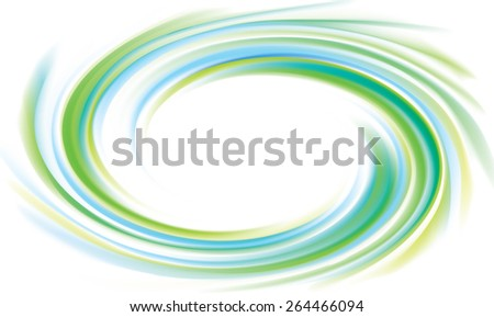 Vector swirling backdrop with space for text. Beautiful vibrant liquid surface light green and turquoise colors with glowing white center in middle of funnel  - stock vector