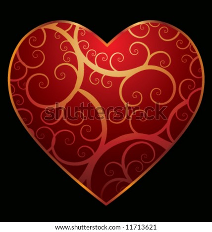Vector swirling heart pattern