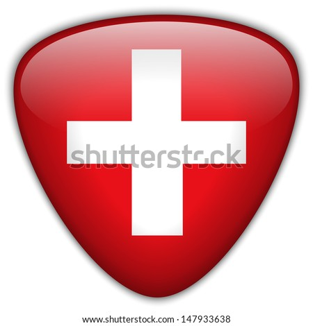 Vector - Switzerland Flag Glossy Button - stock vector