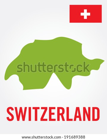 Vector Switzerland Map and Flag Set - stock vector