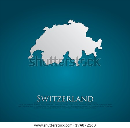 vector Switzerland Map card paper on blue background, high detailed