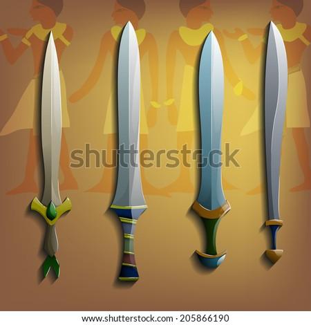Vector swords set. - stock vector