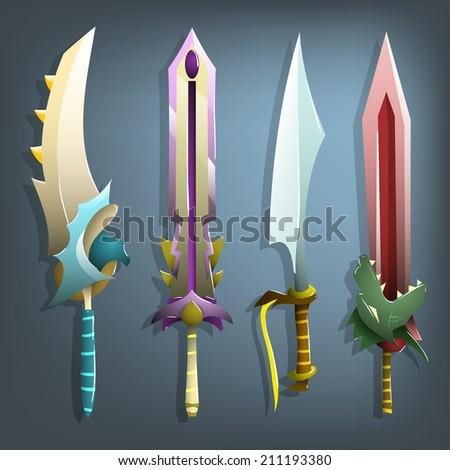 vector swords set ( vector illustrations) - stock vector