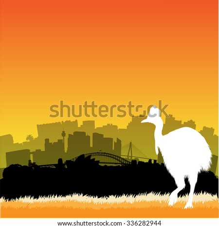 Vector Sydney skyline illustration with silhouette of cassowary - stock vector