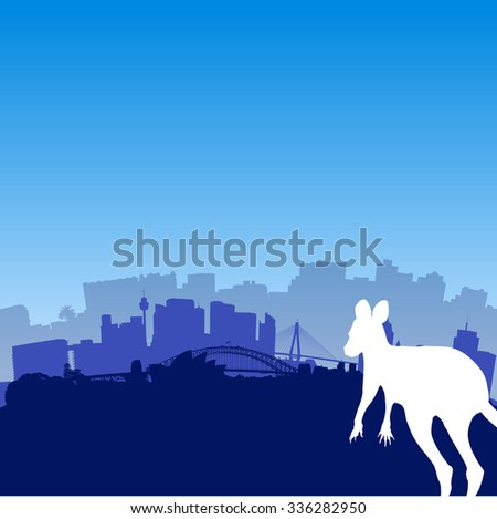 Vector Sydney skyline illustration with silhouette of Kangaroo - stock vector