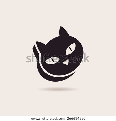 Vector symbol cat food. Stylized illustration silhouette icon - stock vector