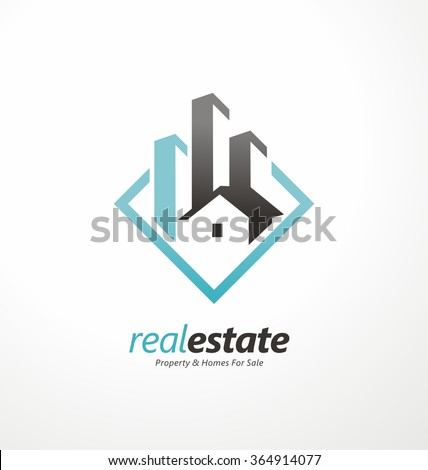 Vector Symbol Design For Real Estate Company. Buildings Abstract Logo Design  Template. City Skyline