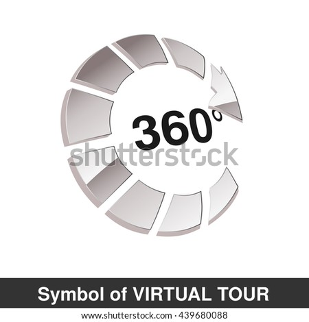 Vector symbol for virtual tour, glossy silver arrow - button with the inscription 360  - stock vector