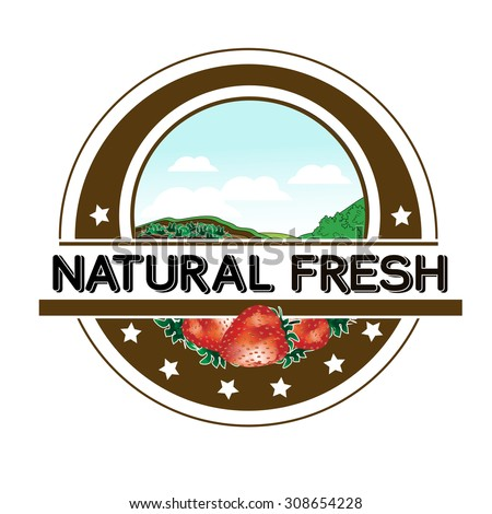 Vector symbol - natural fresh label - nature abstract element with strawberry, bio organic simple design in the circle  - stock vector