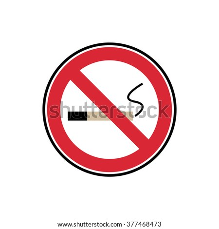 vector symbol no smoking red and black sign isolated on white