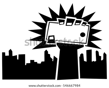 Vector symbol of a raised fist holding a smartphone over a city skyline for the concept: Electronic revolution.