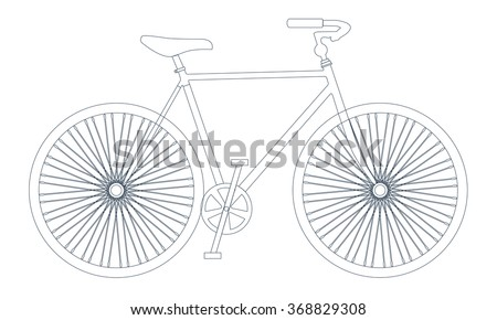 Vector symbol of bike silhouette with outline. Bicycle thin line icon - stock vector