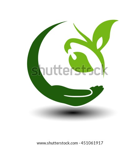 Vector symbol of green energy.  Circular natural element. Hand and plant with leaf. Nature icon.