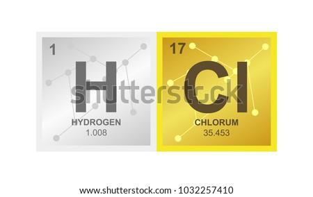 Vector Symbol Hydrochloric Acid Hydrogen Chloride Stock Vector