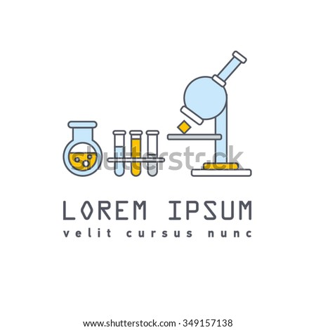 Vector symbol of laboratory, chemical, medical test logo, icon. Colorful modern flat line design with bulbs, bottles and microscope. Chemical equipment and research.