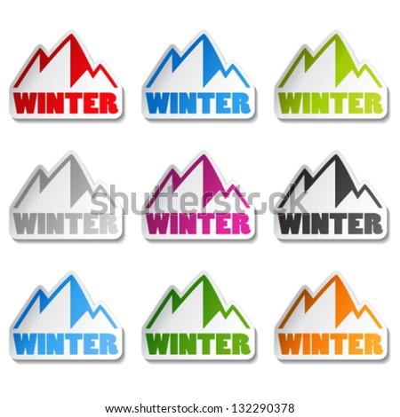 Vector symbol of mountains - sticker of winter - stock vector