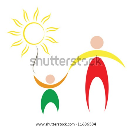 vector symbol of peace and family. father hold son by the hand, and children hold sun in one's hand. - stock vector